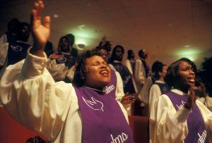 Choir Members Singing in Church Service