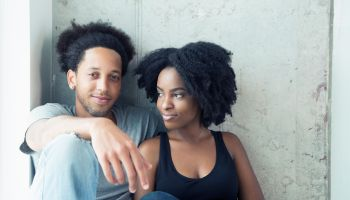 Relaxed, young African American couple