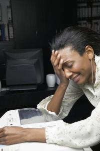Despairing office worker