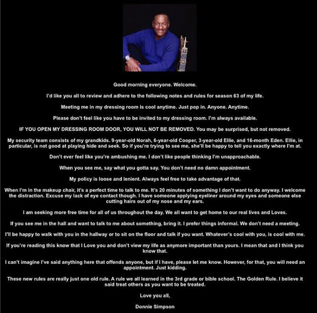 Donnie Simpson Email To Staff
