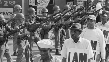 National Guard Soldiers Watch as Memphis Sanitation Workers Strike