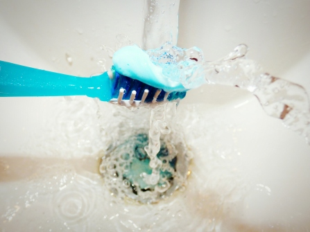 Close-Up Of Toothbrush Under Water