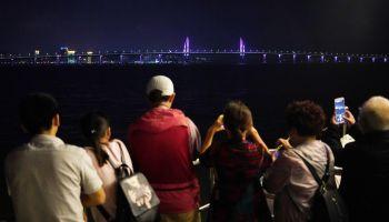 People Visit Hong Kong-Zhuhai-Macao Bridge In Zhuhai