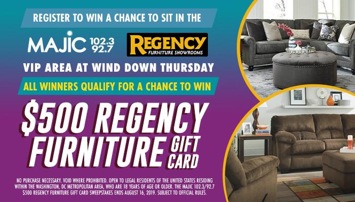 $500 Regency Furniture gift card Sweepstakes