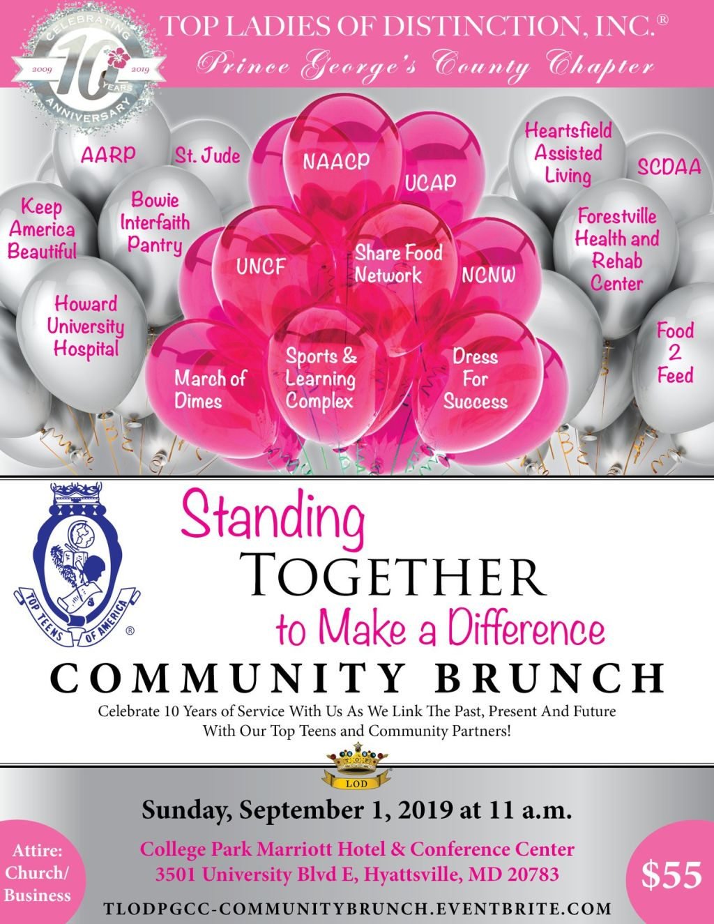 Top Ladies of Distinction, Inc., Prince George's County Chapter 10th Anniversary Brunch