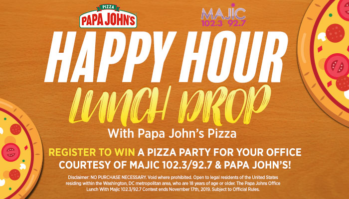 Majic Happy Hour Lunch Drop with Papa John's Pizza Contest